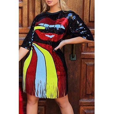 Lovely Casual O Neck Tassel Design Multicolor Knee Length Dress