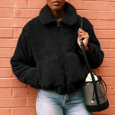 Lovely Casual Basic Zipper Design Black Coat