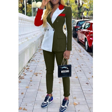 Lovely Work Turn-back Collar Patchwork Army Green Two-piece Pants Set