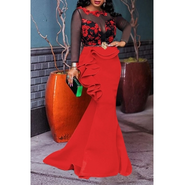 Lovely Party Patchwork Flounce Red Floor Length Prom Dress
