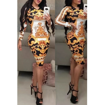 Lovely Casual Printed Skinny Gold Knee Length Dress