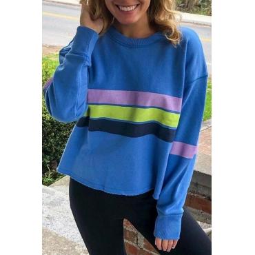 Lovely Casual Striped Blue Sweatshirt Hoodie