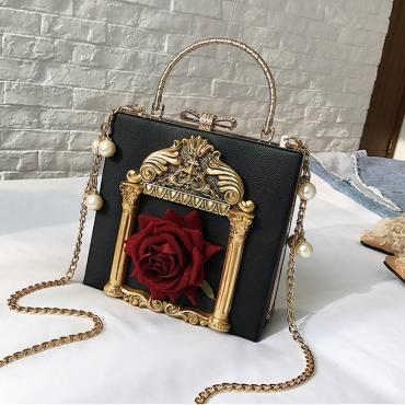 Lovely Vintage Patchwork Black Messenger Bag