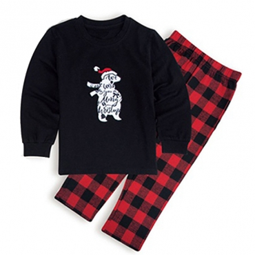 Lovely Family Plaid Printed Black Kids Two-piece Pants Set