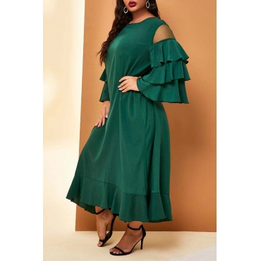 Lovely Casual Flounce Patchwork Green Ankle Length Plus Size Dress