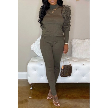 Lovely Sweet Ruffle Design Grey Two-piece Pants Set