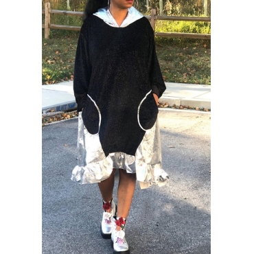 Lovely Sweet Patchwork Black Mid Calf Dress
