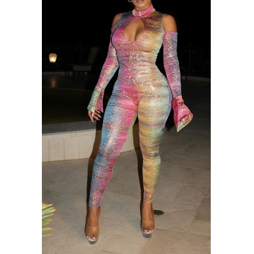 Lovely Trendy Hollow-out Multicolor One-piece Jumpsuit