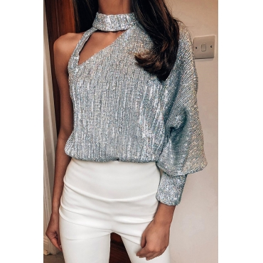 Lovely Casual  One Shoulder  Silver  Blouse
