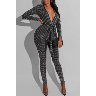 Lovely Trendy Sequined Black One-piece Jumpsuit