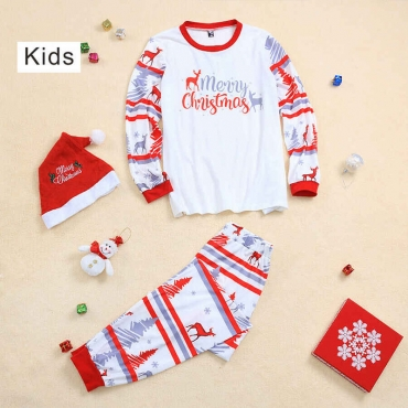 Lovely Family Letter Printed White Father Two-piece Pants Set
