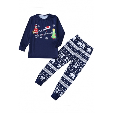 Lovely Family Santa Claus Printed Dark Blue Boys Two-piece Pants Set