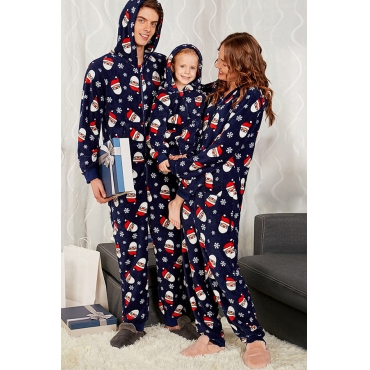 Lovely Family Santa Claus Printed Dark Blue Mother One-piece Jumpsuit