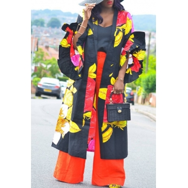 Lovely Casual Printed Loose Black Plus Size Coat