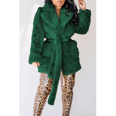 Lovely Winter Basic Lace-up Blackish Green Coat