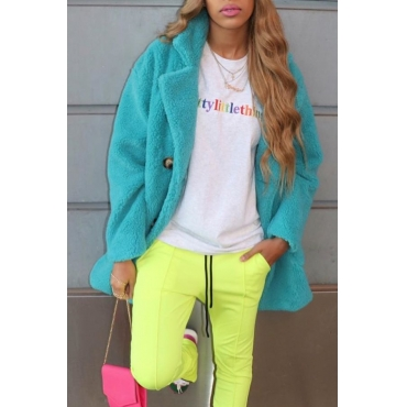 Lovely Casual Basic Green Long Coat