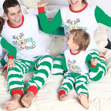 Lovely Family Striped White Mother Two-piece Pants Set