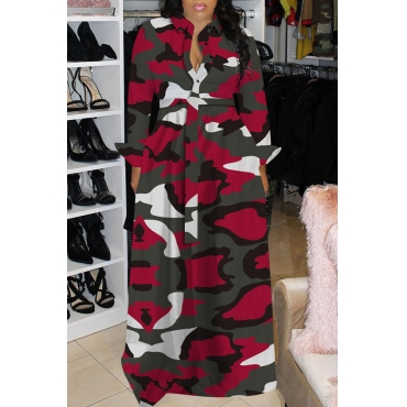 Lovely Casual Turndown Collar Camouflage Printed Wine Red Floor Length Dress