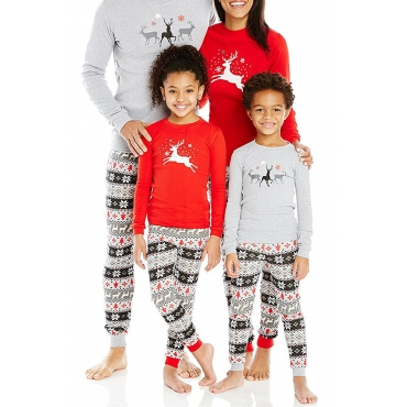 Lovely Family Printed Red Mother Two-piece Pants Set
