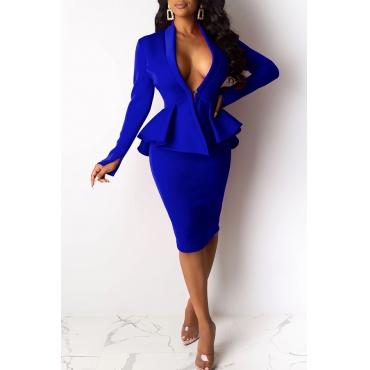 Lovely Work V Neck Flounce Design Blue Two-piece Skirt Set(Without Belt)