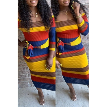 Lovely Casual Patchwork Multicolor Mid Calf Dress