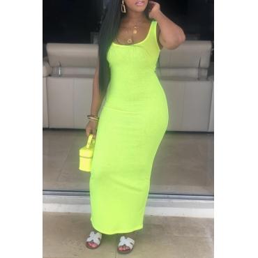 Lovely Casual Sleeveless Skinny Green Ankle Length Dress