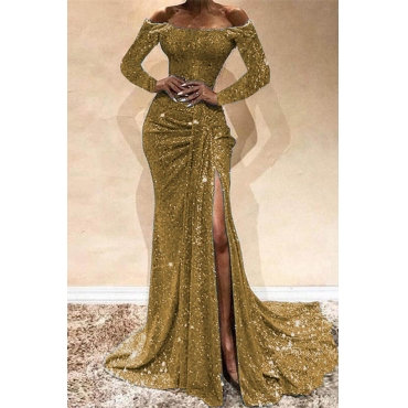 Lovely Party Side High Slit Gold Trailing Evening Dress