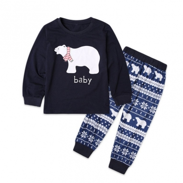 Lovely Family Bear Printed Dark Blue Kids Two-piece Pants Set