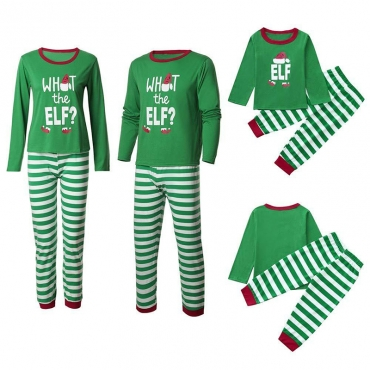 Lovely Family Striped Green Father Two-piece Pants Set