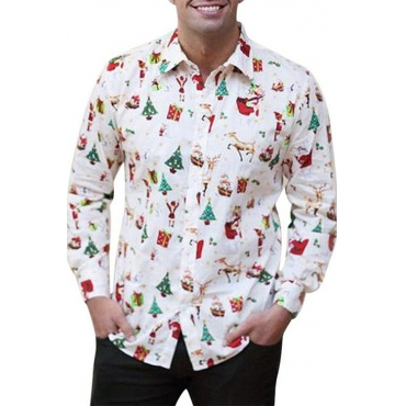 Lovely Casual Santa Claus Printed White Shirt