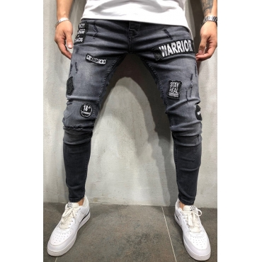 Lovely Casual Patchwork Grey Jeans