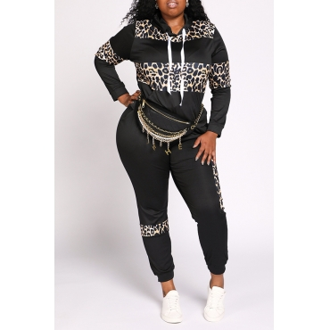 Lovely Casual Leopard Printed Black Plus Size Two-piece Pants Set