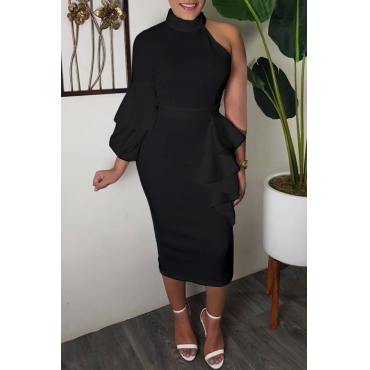 Lovely Sweet Turtleneck Dew Shoulder Flounce Black Mid Calf Dress