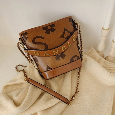 Lovely Trendy Letter Brown Messenger Bag