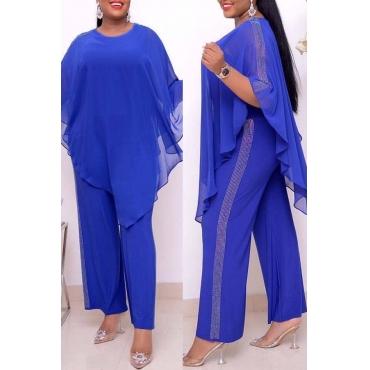 Lovely Casual Cloak Design Blue Plus Size Two-piece Pants Set