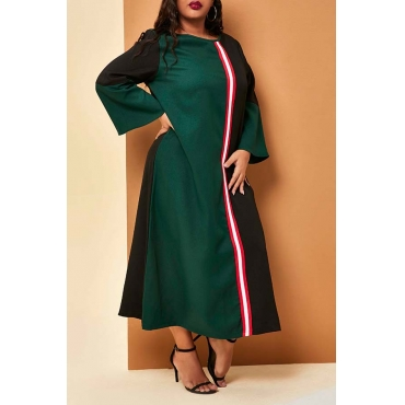 Lovely Casual Patchwork Green Mid Calf Plus Size Dress