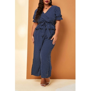 Lovely Casual V Neck Dot Printed Blue Plus Size One-piece Jumpsuit