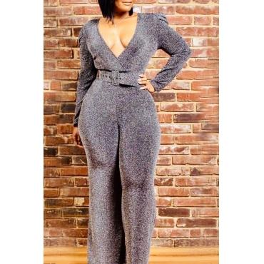 Lovely Trendy V Neck Silver Plus Size One-piece Jumpsuit