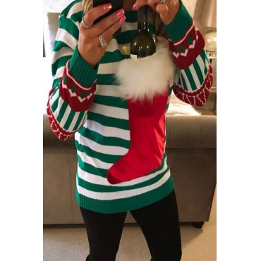 Lovely Christmas Day Striped Green Hoodie