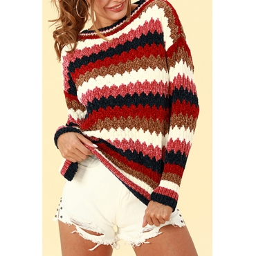 Lovely Casual Patchwork Brick-red Acrylic Sweaters