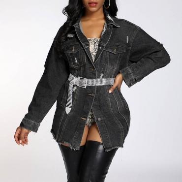 Lovely Casual Basic Black Coat(Without Belt)
