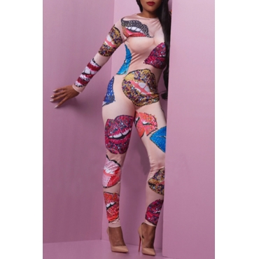 Lovely Sexy Lip Printed Multicolor One-piece Jumpsuit