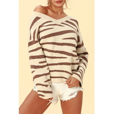 Lovely Chic Striped Apricot Sweaters