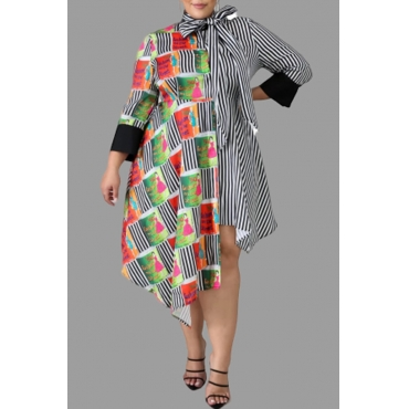 Lovely Casual Asymmetrical Patchwork Striped Mid Calf Plus Size Dress