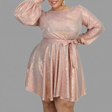 Lovely Casual O Neck Pink Knee Length Plus Size Dress