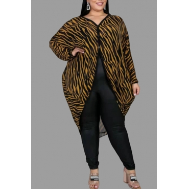 Lovely Trendy Printed Black Plus Size Blouse