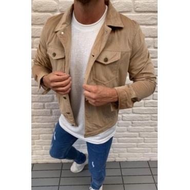 Lovely Casual Buttons Design Khaki Jacket