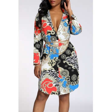 Lovely Casual Turndown Collar Printed Multicolor Knee Length Dress