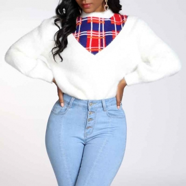 Lovely Casual Patchwork White Sweater