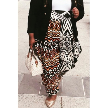 Lovely Trendy Printed Black Plus Size Pants